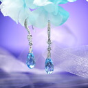 Fantastic brightness…☆ Swarovski crystal pierced earrings swing drop / aquamarine