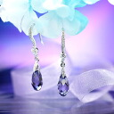 Fantastic brightness…☆ Swarovski crystal pierced earrings swing drop / tanzanite