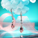 Fantastic brightness…☆ Swarovski crystal pierced earrings swing drop / light pink