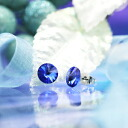 Fantastic brightness…☆ Swarovski crystal pierced earrings circle size / sapphire