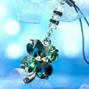 Happy Swarovski four leaf clover mobile phone strap