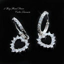 Convenient 2-way system! Zirconia open heart ring earrings