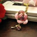Sparkling rhinestone rose flower mobile strap / Pastel pink