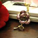 The ☆ Rose flower carrying strap / amethyst purple that a rhinestone glistens with