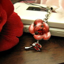 Sparkling rhinestone ☆ rose flower mobile strap and rose