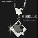 Puzzle piece design ステンレスジュエリーペアネックレス / mens black ( GLE-KJ-SP032-MBK )