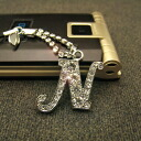 The splendor of luxurious Crystal initial ☆ mobile strap/n