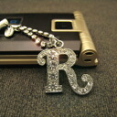 Luxurious gleam ☆ crystal initial carrying strap /R