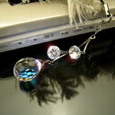 Swarovski mirror ball mobile strap-zirconia charm with ☆