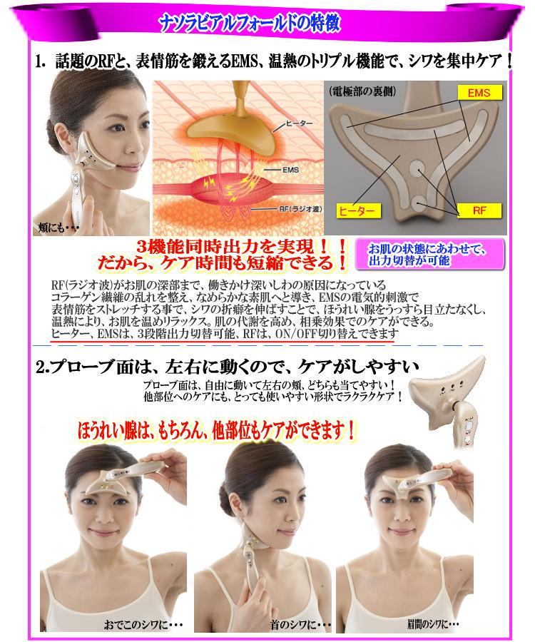 (1)EMSで表情筋を刺激。衰えた筋肉を鍛えイキイキとした表情に。 (2)じんわり温熱効果でシワやほうれい線をのばしながらトリートメント。 (3)27MHzのラジオ波で、熱エネルギーにより深部を温めほぐし、刺激します。