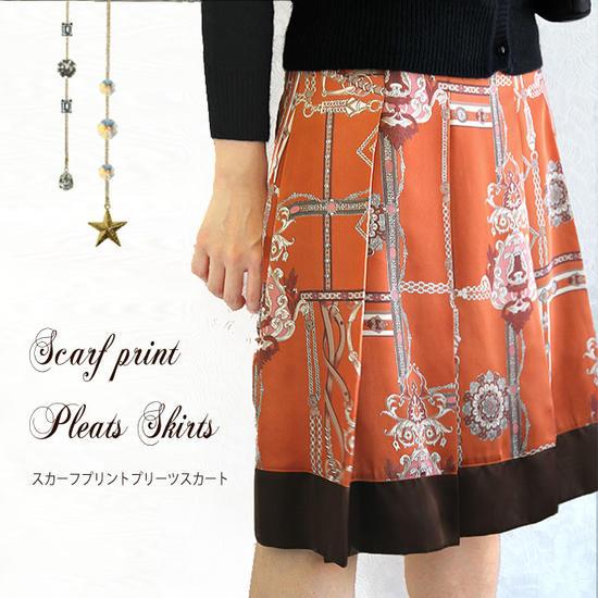 【送料無料】【日本製】プリントスカート プリーツスカート スカーフプリント ひざ丈スカート サテンスカート