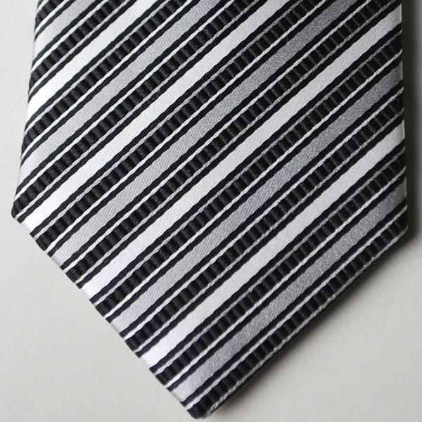 【日本製・モーニング用】西陣織の絹100%の白黒の縞