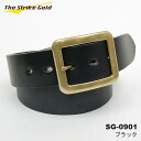 "THE STRIKE GOLD( strike gold) Italian benz leather belt plane ""SG-0901"" black 《 free shipping 》"