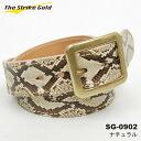 "THE STRIKE GOLD( strike gold) Italian benz leather X diamond python belt ""SG-0902"" natural 《 free shipping 》"