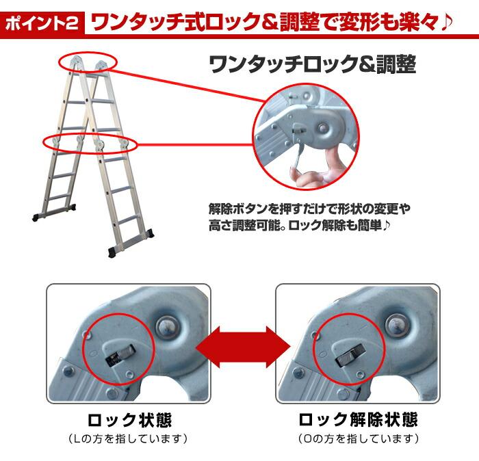多機能はしご・脚立4.7mロックの使い方