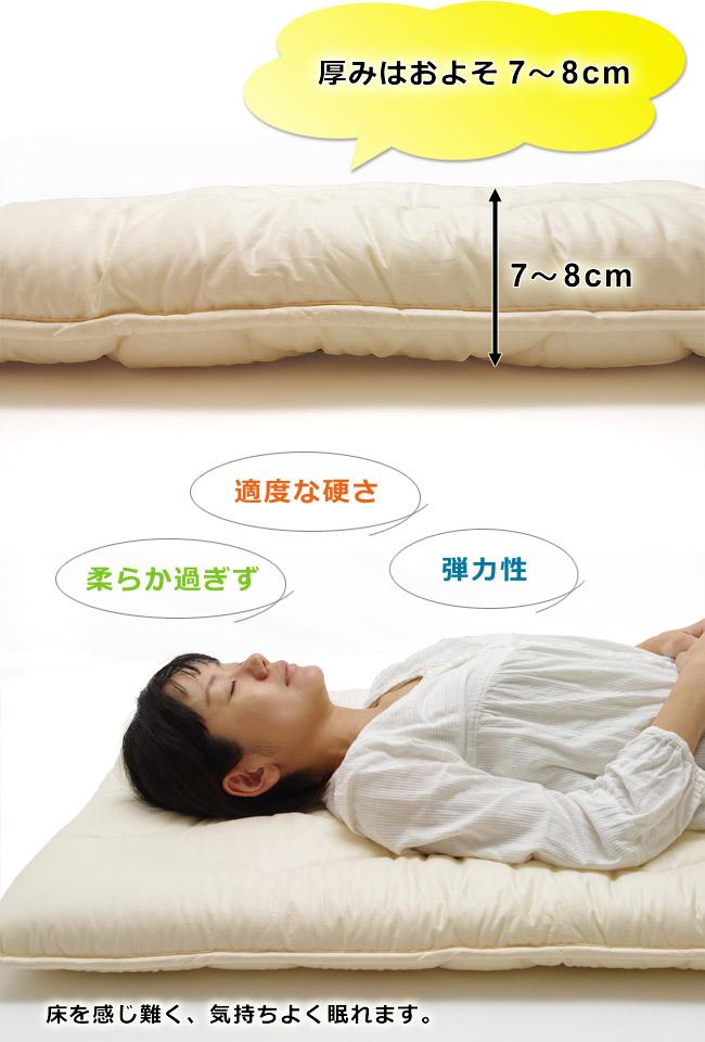 厚みはおよそ7-8cm、適度な固さと弾力性があり床を感じず快適です