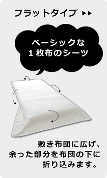 フラットタイプの敷き布団用シーツ