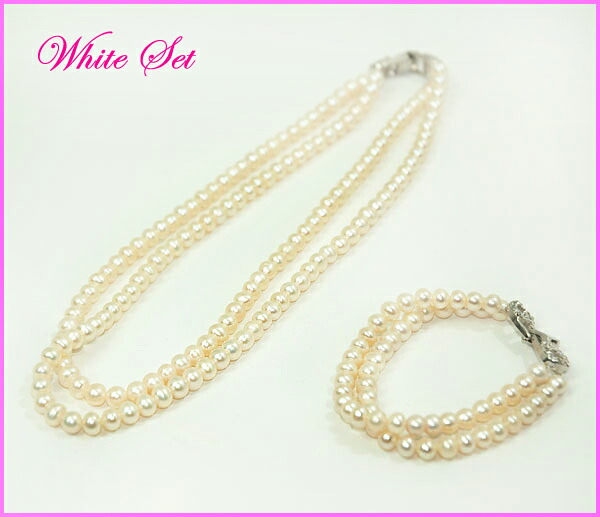 Very wonderful two nature freshwater pearl necklaces and press let SET