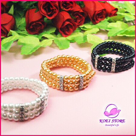 All three pearl rubber bracelet ★ three colors★