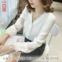 Chiffon blouse long sleeves Talcott hemline tops tunic shirt rollup commuter school OL spring summer autumn white conservative black monochrome