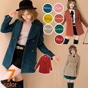 Short length nostalgic double button pea coat ♪ pea coat standard