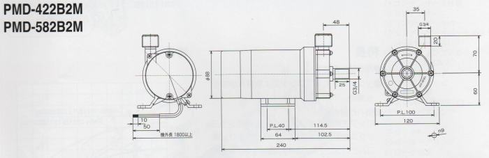 ∴ 三相电动磁力驱动泵 pmd-582b2m 单相 200 v 与非螺钉连接类型