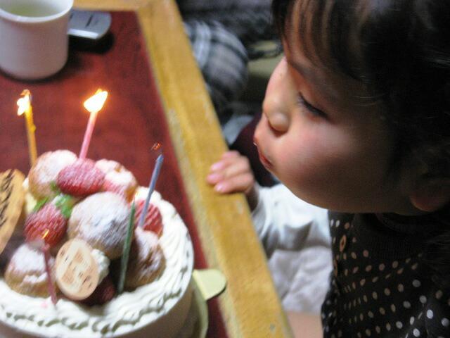 ケーキのローソクの火を消す