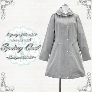 【スプリングコート】レディースコート シャドーボーダー柄スプリングコート