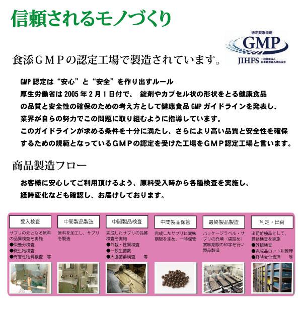 """信頼されるモノづくり。食添GMPの認定工場で製造されています。GMP認定は""""安心""""と""""安全""""を作り出すルール厚生労働省は2005年2月1日付で、 錠剤やカプセル状の形状をとる健康食品の品質と安全性の確保のための考え方として健康食品GMPガイドラインを発表し、業界が自らの努力でこの問題に取り組むように指導しています。このガイドラインが求める条件を十分に満たし、さらにより高い品質と安全性を確保するための規範となっているGMPの認定を受けた工場をGMP認定工場と言います。商品製造フロー。お客様に安心してご利用頂けるよう、原料受入時から各種検査を実施し、経時変化なども確認し、お届けしております。"""