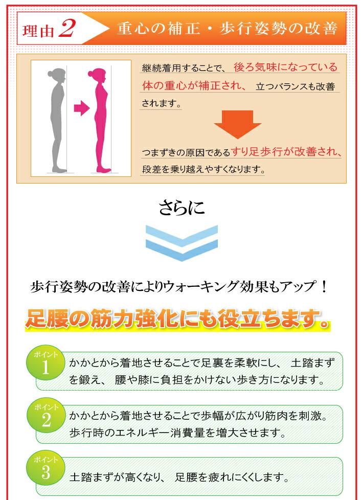 重心の補正、歩行姿勢の改善 立つバランスも改善されます。すり足歩行が改善され、段差を乗り越えやすくなります。