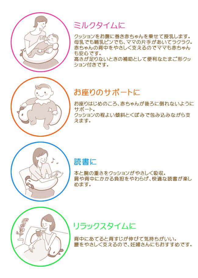 ミルクタイムに。クッションをお腹に巻き赤ちゃんを乗せて授乳します。母乳でも哺乳ビンでも、ママの片手があいてラクラク。赤ちゃんの背中をやさしく支えるのでママも赤ちゃんも安心です。高さが足りないときの補助として便利なたまご形クッション付きです。お座りのサポートに。お座りはじめのころ、赤ちゃんが後ろに倒れないようにサポート。クッションの程よい傾斜とくぼみで包み込みながら支えます。読書に。本と腕の重さをクッションがやさしく吸収。肩や背中にかかる負担をやわらげ、快適な読書が楽しめます。リラックスタイムに。背中にあてると背すじが伸びて気持ちがいい。腰をやさしく支えるので、妊婦さんにもおすすめです。