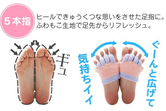 5本指。ヒールや先の細い靴で、きゅうくつで疲れた足先に、ふわもこ生地素材で足先からリフレッシュ。ギューンと広げて気持ちいい