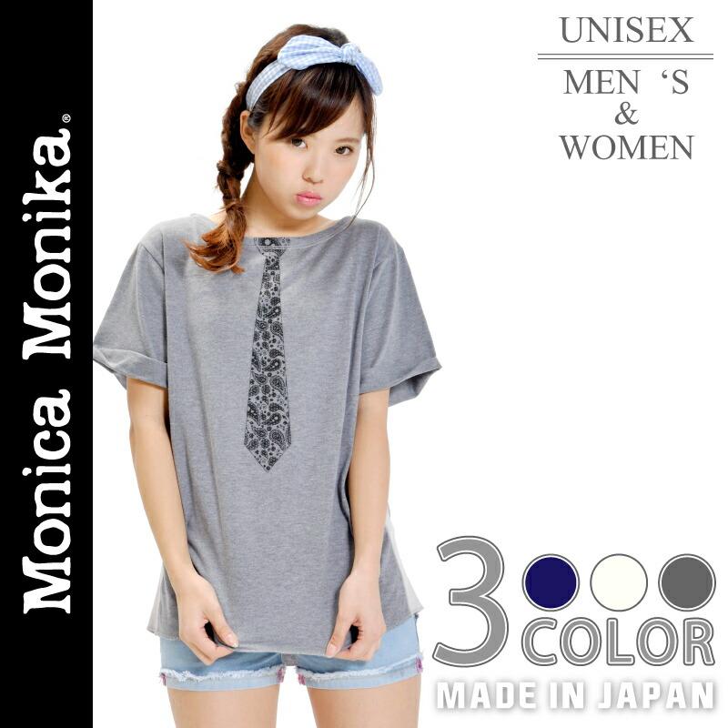 MonicaMonikaペイズリー&ドットネクタイTEE半袖シャツ半袖tシャツメンズレディース半袖Tシャツ