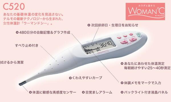 テルモ婦人体温計 ウーマンドシーET-C520PW ピュアホワイト