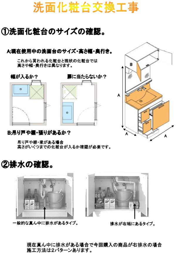 洗面化粧台交換工事の説明