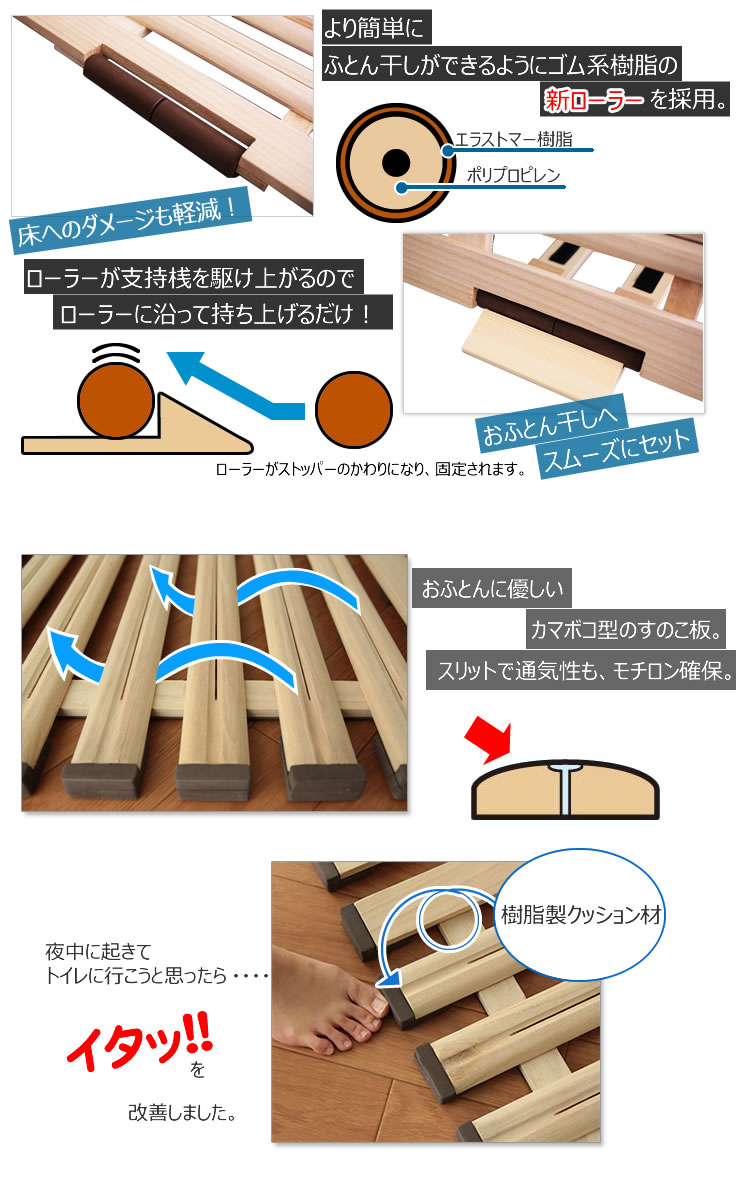 新しっけナイトシリーズ 立ち上げ簡単! 軽量桐すのこベッド 3つ折れ式