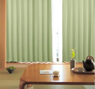 緑色のカーテンの使用イメージ