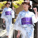 High grade still weave yukata 7 piece set ' the pale off-white blue and purple Roses ' [zu]