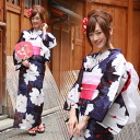 "Weaving turns a 7 point yukata ""in purple white flower flowers with red petals ' yukata retro modern [zu]"