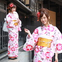 Still weave yukata 7 piece set 'in red on white, pink morning glories and hydrangeas' yukata retro modern