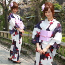 "Seven points of fancy weaving yukata set ""rose yukata flower white white dark blue purple-red which is red with a large rose in the purple ground"""