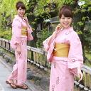 "High grade still weave yukata 3 pieces ' pink wine red and white diamond-patterned ""100% cotton yukata and belt, Geta set peach engine red white rectangular geometric patterns"