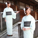 High grade still weave petiole cotton yukata 3-piece set Mint green and white linen 100% yukata, Obi, Geta set light green