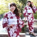 Three points of high-quality fancy weaving yukata set purplish red place, morning glory, pink pattern cotton 100% yukata, obi, clogs set morning glory crimson