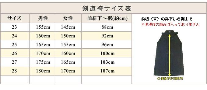 麻剣道袴 サイズ表
