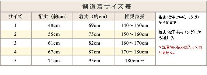 軽量実戦型サイズ表