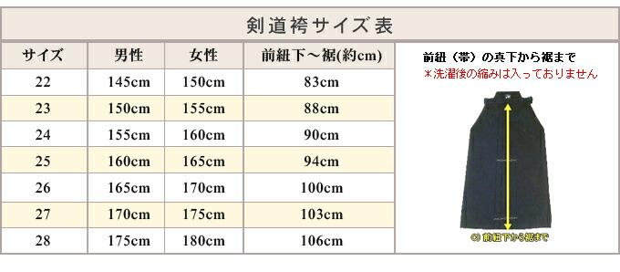 信義剣道袴サイズ表