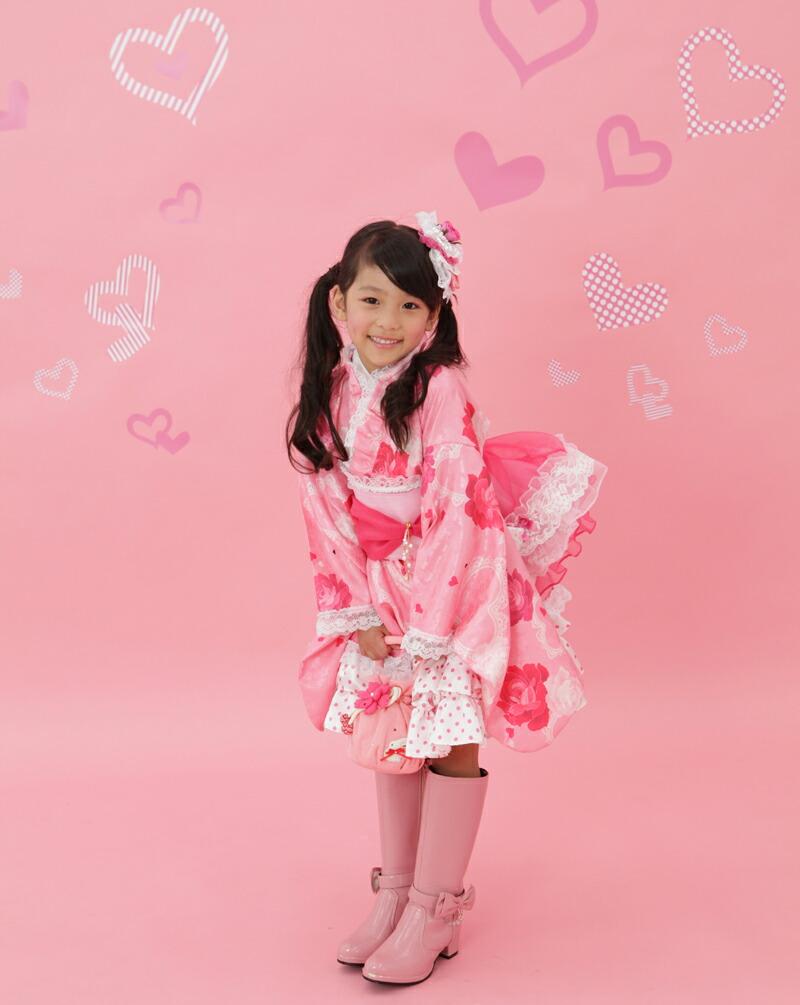 """兒童和服和服禮服小孩\""""糖果糖果\""""(粉紅色)七五三 ..."""