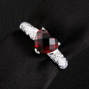 2.7 g of Ponte Vecchio K18WG garnet / diamond D 0.12ct #10 ring rings