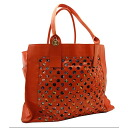 SEE BY CHLOE tote bag canvas x leather orange 39.5x31x20cm